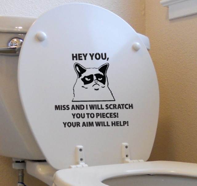 Grumpy Cat Funny Sticker Toilet Decal Flip Off Bathroom Home Decor Wall Sticker Art Vinyl Sticker