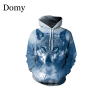 Domy Brand Wolf Printed Hoodies Men 3D Printed Winter Autumn Pullover Tracksuit Hooded Jackets Male Coat