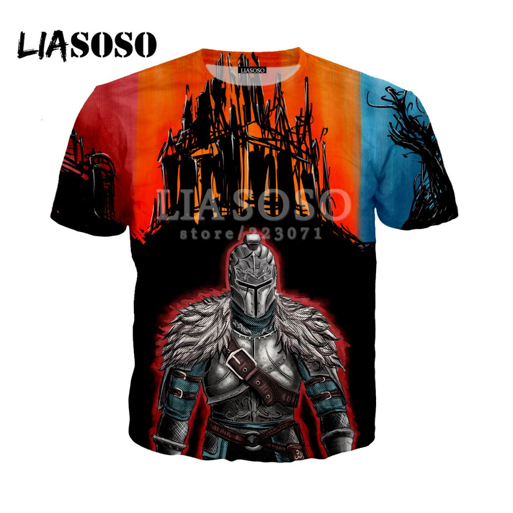 LIASOSO Summer New Mens / Womens T-Shirt 3D Print Video Game Dark Soul Casual Fashion Cute Hip-hop Funny Short Sleeve Top A021