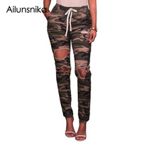 Ailunsnika Sexy Jeans Woman Fashion Camouflage Denim Pants Army Green Elastic Waist Distressed Skinny Holes Pencil