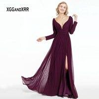 Elegant Mother of the Bride Dresses 2019 Long Sleeve Evening Dress Open Back Burgundy Groom Mother Dresses Plus Size Formal Gown