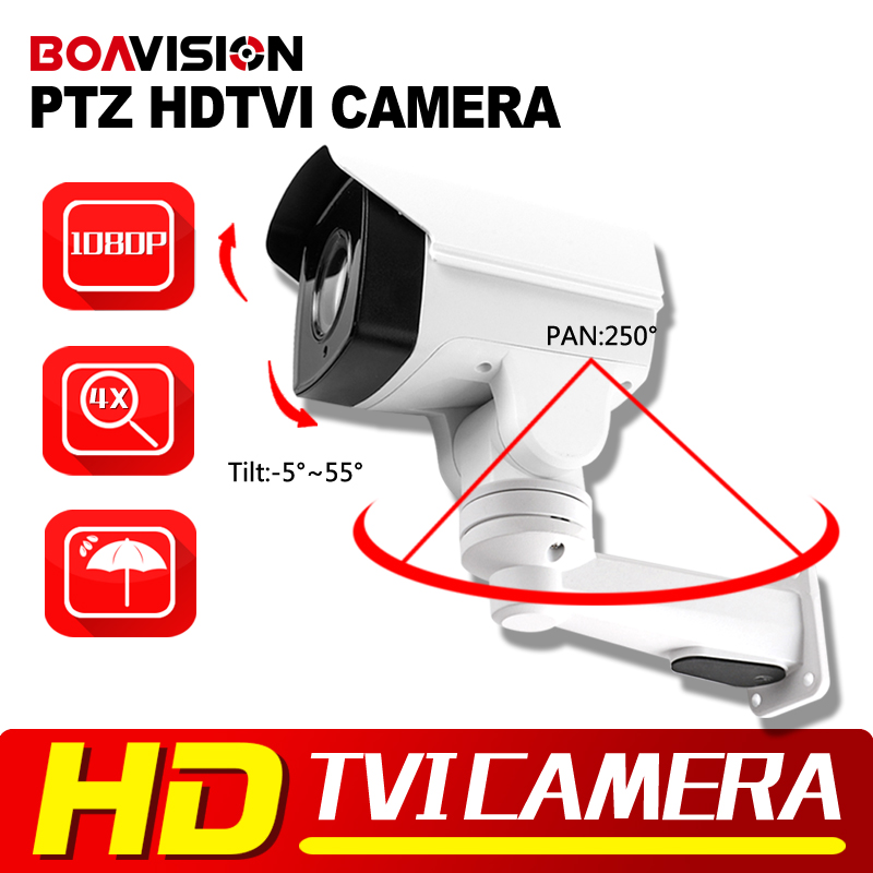 HD TVI PTZ Camera 1080P 2MP 4X Zoom Lens IR 50m Pan/Tilt Rotation Outdoor Bullet Security CCTV Camera,Middle Speed 1080p 2 0mp ir ptz high speed dome camera 360 rotation ahd cvi tvi cvbs 33x zoom 4 6 152mm lens ir view range 150m with wiper
