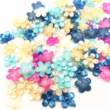 100Pcs Mixed Cameo Cabochon Decoration Tiny Flower Acrylic Flat Back Fashion Jewelry DIY Findings Charms 11mm