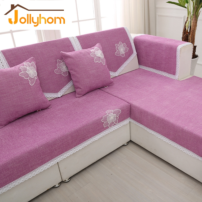 Modern l shaped solid color sofa towel chenille polyester for L shaped sofa colors