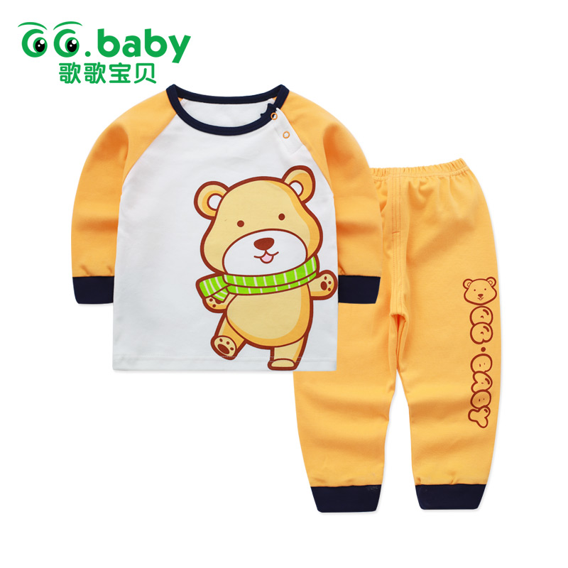 2pcs/set Cotton Bear Baby Clothing Set Long Sleeve Newborn Baby Boy Sets Clothes Baby Girl Outfit Toddler Suit For Boy Pajamas 2pcs children outfit clothes kids baby girl off shoulder cotton ruffled sleeve tops striped t shirt blue denim jeans sunsuit set