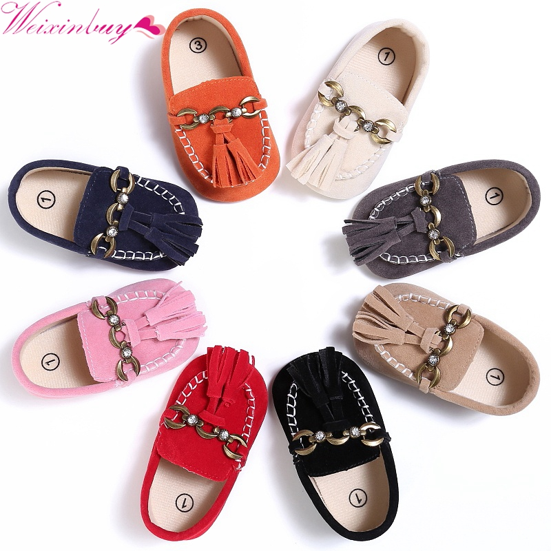 newborn baby moccasins infant PU Suede Leather first walker soft soled Newborn 0-18M Baby shoes