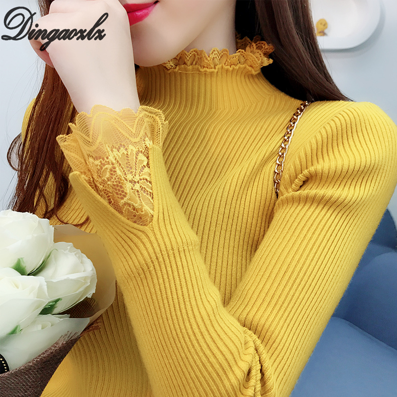 Dingaozlz Autumn Winter Sweater New Fashion Women Lace Stitching Knitted Shirt Long Sleeve Casual Pullovers Tops