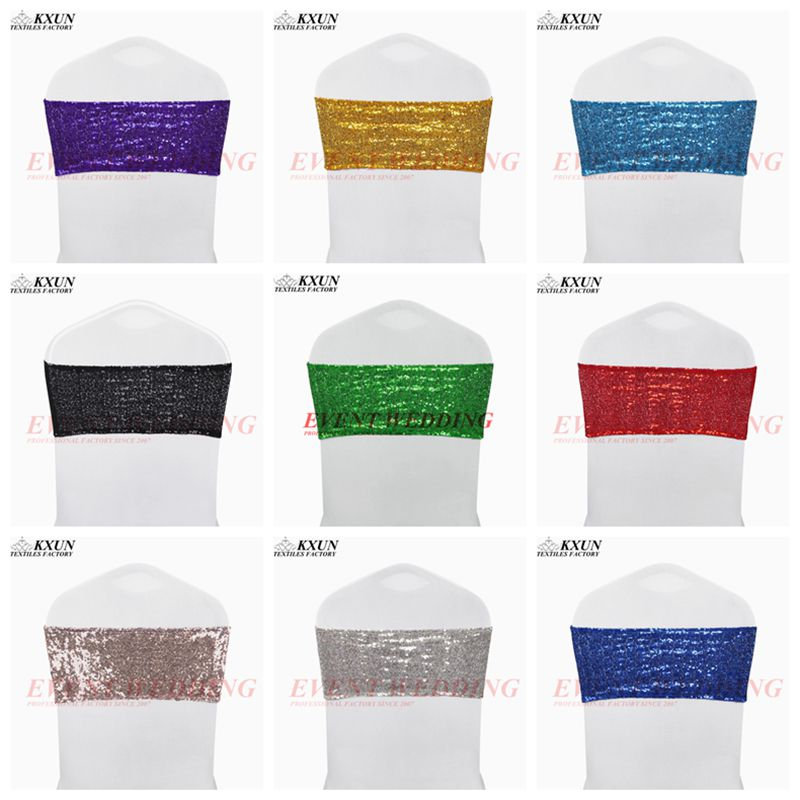 Wholesale Price Sequin Chair Band Tie Bow Lycra Spandex Chair Cover Sash Wedding Event Decoration-in Sashes from Home & Garden    1