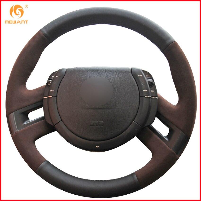 Aliexpress Com Buy Mewant Black Genuine Leather Black: MEWANT Black Genuine Leather Coffee Suede Car Steering