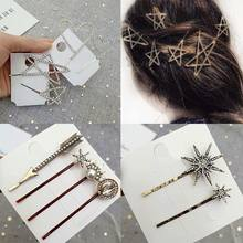 1 Set Women Girls Metal Alloy One Word Pins Glitter Rhinestone Star Heart Arrow Hair Clips Vitnage Jewelry Hair Accessories(China)