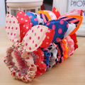 10 Pcs/a lot Mix Color  New Arrive Dot Print Fabric Rabbit Ear Girls Woman Hairbands Hair Rope Women Hair Accessories S69501