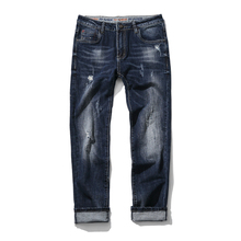 Man Ripped Biker Hole Jeans Cotton Blue Slim Stretchy Straight Fit Jeans Men Motorcycle Vintage Distressed Denim Jeans Pants
