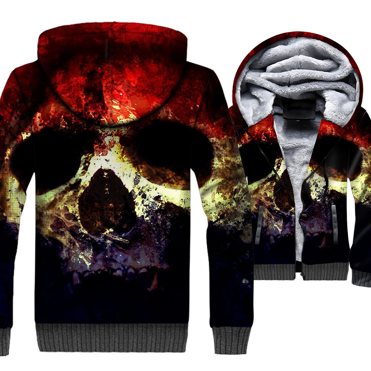 Skull 3D Jacket Men Punk Harajuku Hoodies Crossfit Sweatshirt 2018 New Design Winter Thick Fleece Warm Coat Brand Clothing Mens