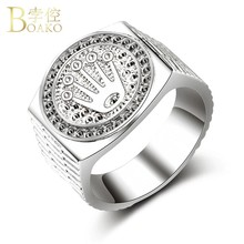 BOAKO Hip Hop Bling Mannen Ring Breed Relief Kroon Ring Man Verklaring Luxe Iced out Rapper anillos hombre party sieraden punk K5(China)