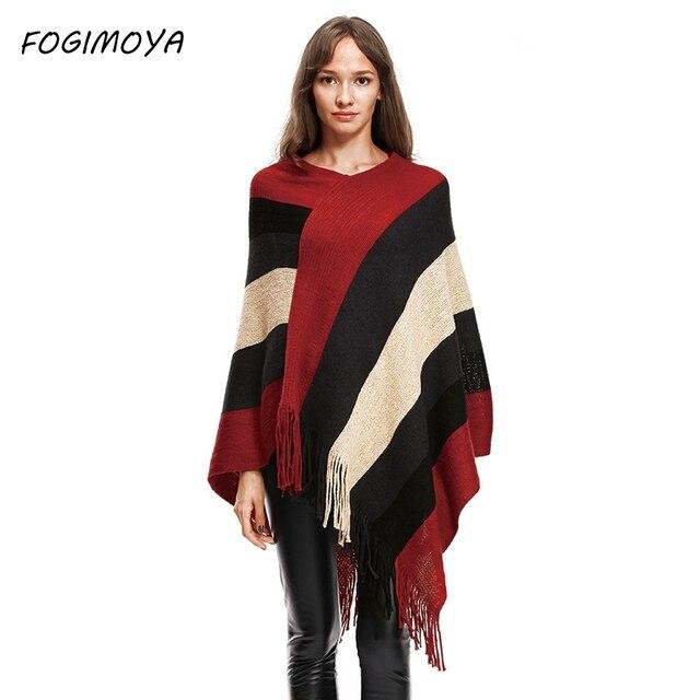 Fogimoya полосатый свитер Для женщин осень компьютер вязаный кисточкой Лоскутные зимние o Средства ухода за кожей Шеи Асимметричный свитер 2017 Пуловеры для женщин Топы корректирующие