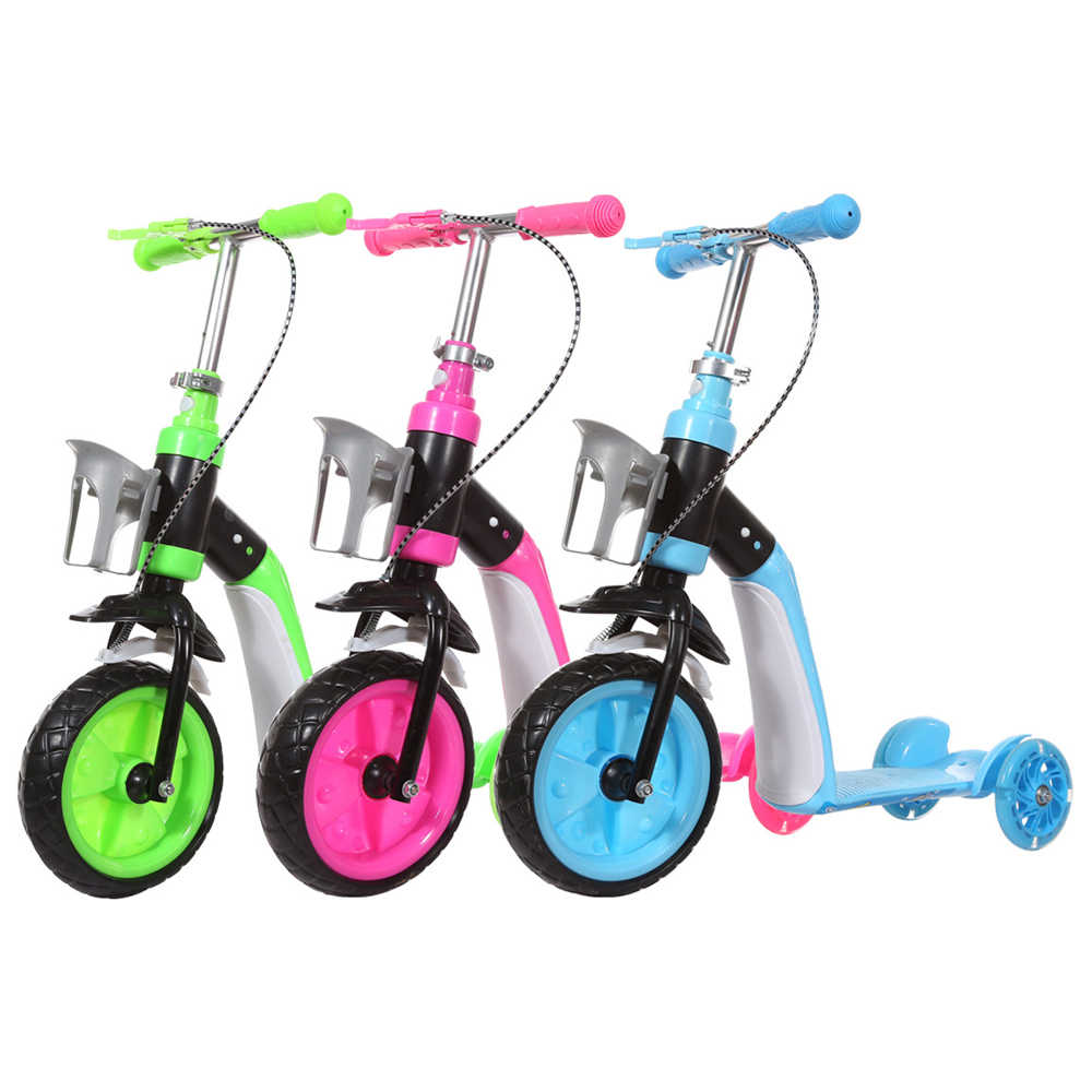 2 em 1 Crianças Equilíbrio de Scooter Criança Infantil Multifuncional Bicicleta Triciclo Com Rodas 3 Estande Assento Dobrável Scooter Elétrico