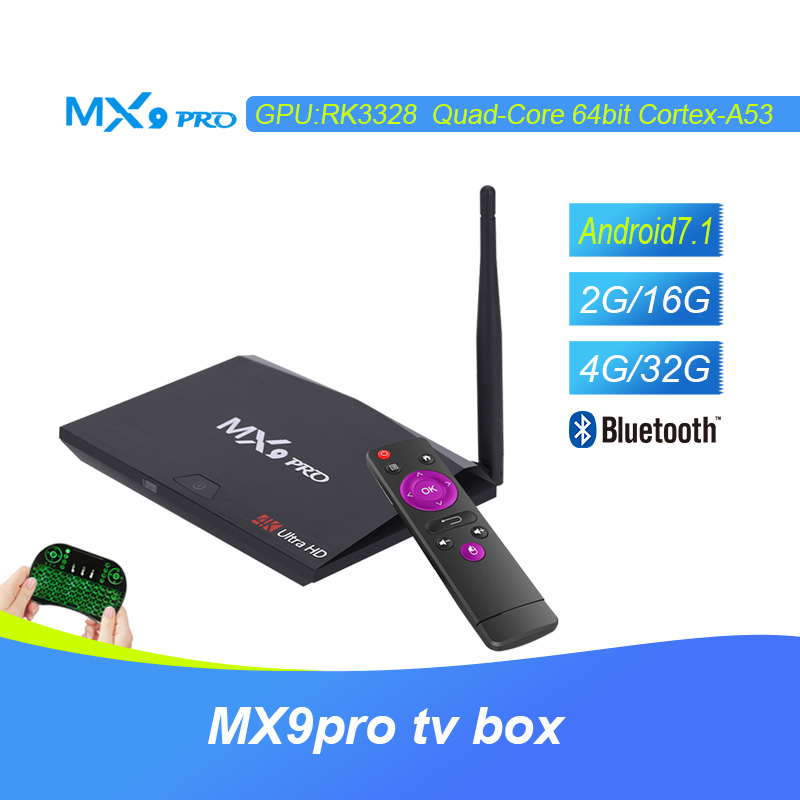 все цены на MX9 Pro Android 7.1 Smart TV Box RK3328 Quad Core 4GB 32GB WiFi Bluetooth 4.1 USB 3.0 Media Player H.265 VP9 HDR 4K PK H96