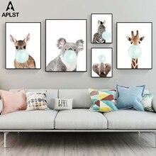Животное зебра жираф коала слон Жевательная жевательная резинка Холст плакат печать картина для ребенка младенец дети спальня детская