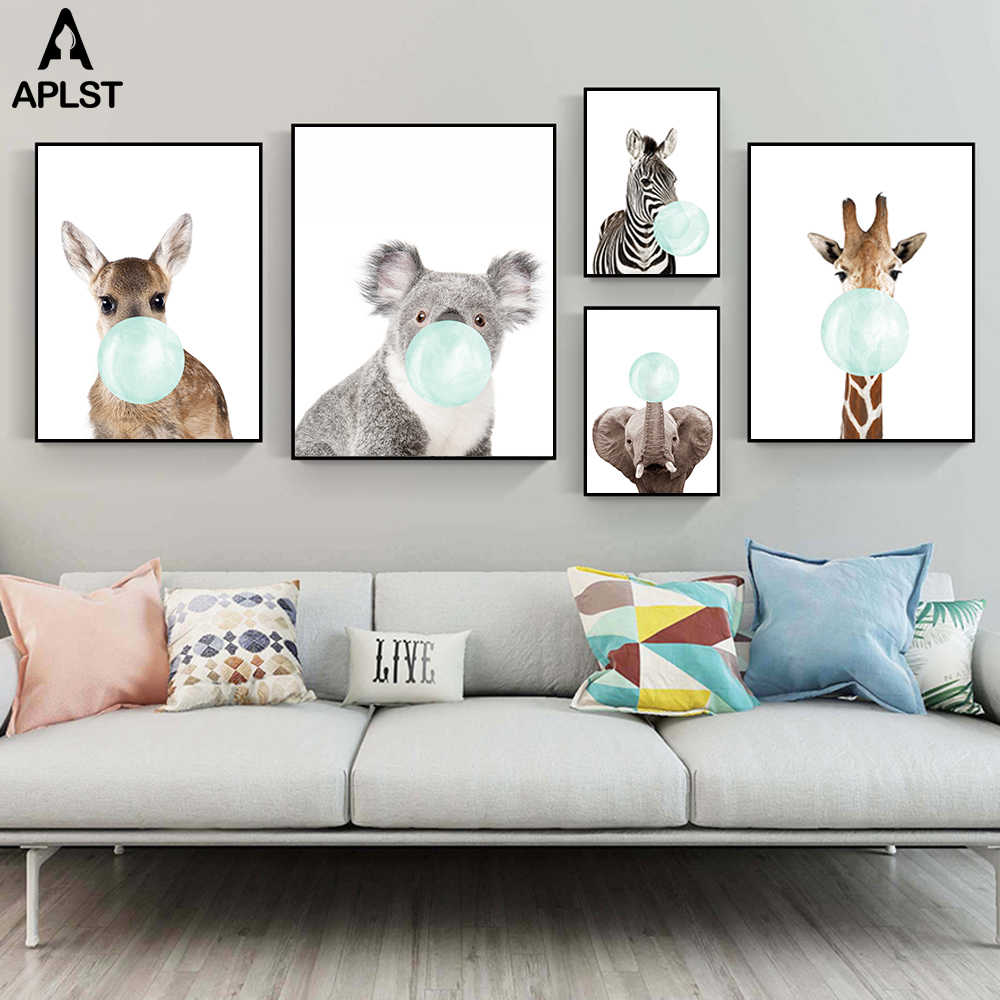 Animal Zebra Giraffe Koala Elephant Chewing Bubble Gum Canvas Poster Print Painting Picture for Baby Infant Kids Bedroom Nursery