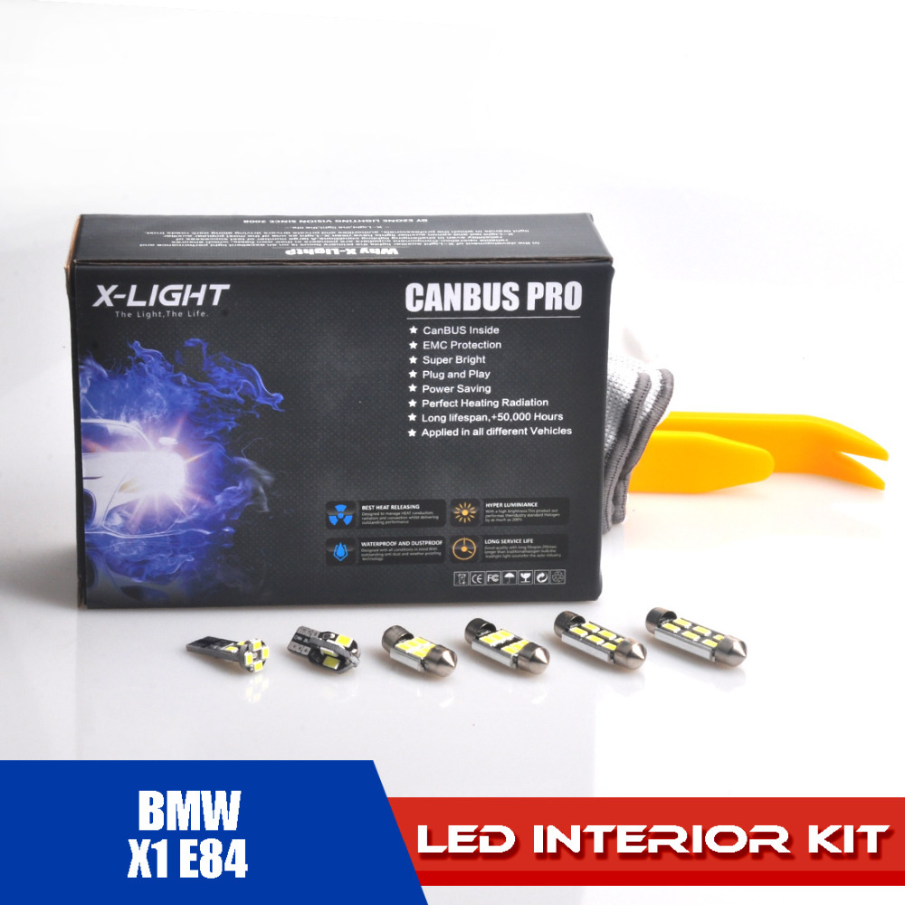 X-LIGHT 14pcs Canbus Pro Xenon White Premium LED Dome Map Interior Light Complete Kit for BMW X1 E84 WITH Installation Tools car 5630 smd interior map dome trunk light led bulb white led kit package for volvo 850 1991 1995 with install tools