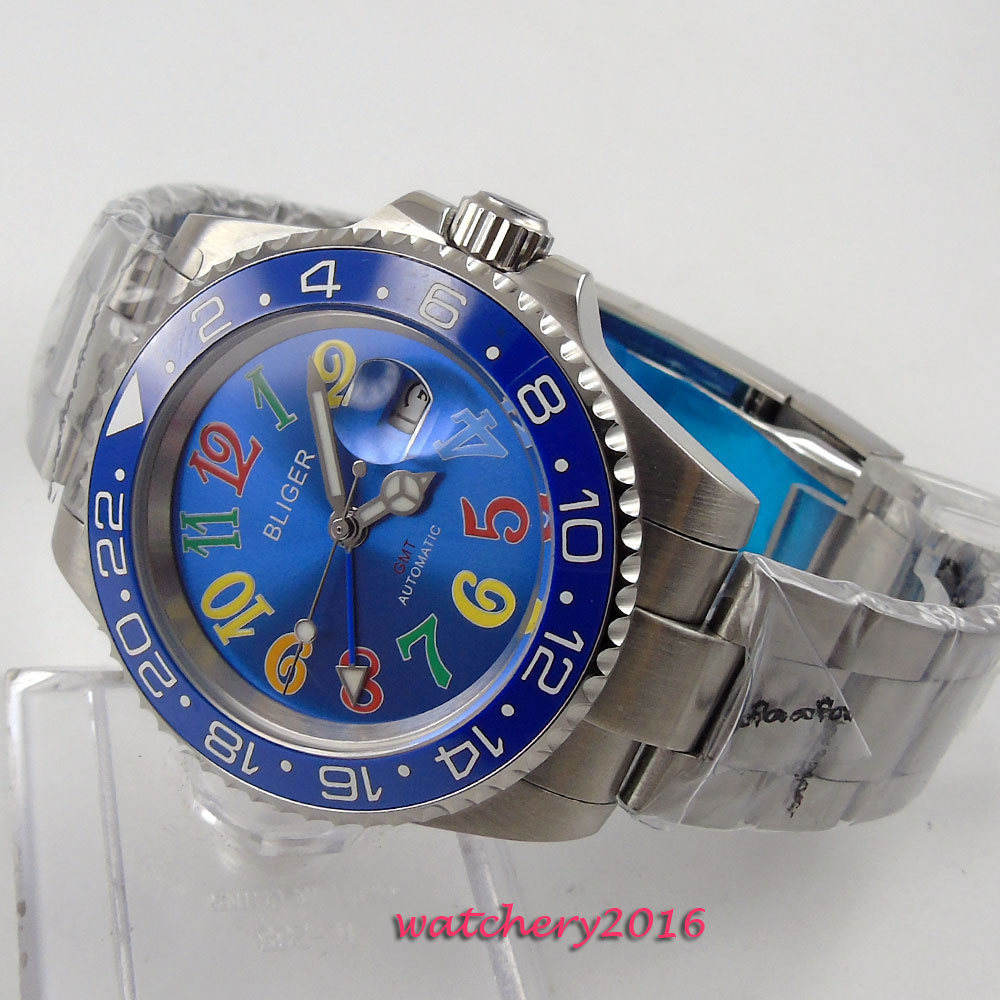 New 40mm Bliger Blue dial ceramic bezel Sapphire Crystal Stainless steel Luminous Hand GMT date Automatic Mechanical Men's Watch коньки onlitop 223f 37 40 blue 806164