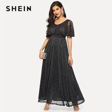 5e49da1a57 SHEIN Black Summer Glamorous High Waist Flare Glitter Cape Maxi Dress Women  Solid Elegant Scoop Neck A-Line Long Party Dresses