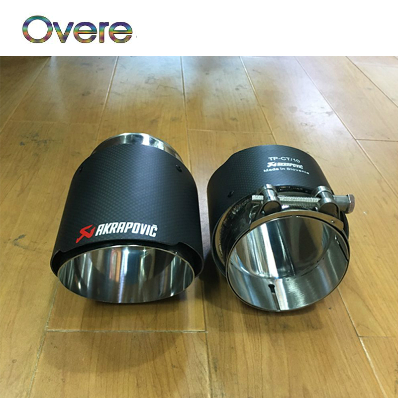 Overe Carbon Fibeer Akrapovic Tips Car Exhaust Pipe For BMW X5 e53 e70 X6 e71 x1 F48 2015 2016 2017 Accessories M performance exhaust tips on jaguar xe