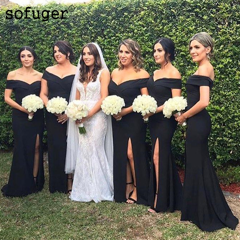 Long Black Satin Sweetheart Special Occasion Dress Bridesmaid Dresses Off The Shoulder Wedding Party Dresses Formal