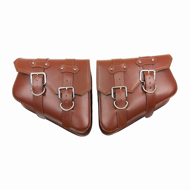 2 pcs For Harley Sportster XL 883 1200 Motorcycle Saddle Bags Pu Leather Side Tool Bag Luggage Black and Brown XL883 XL1200