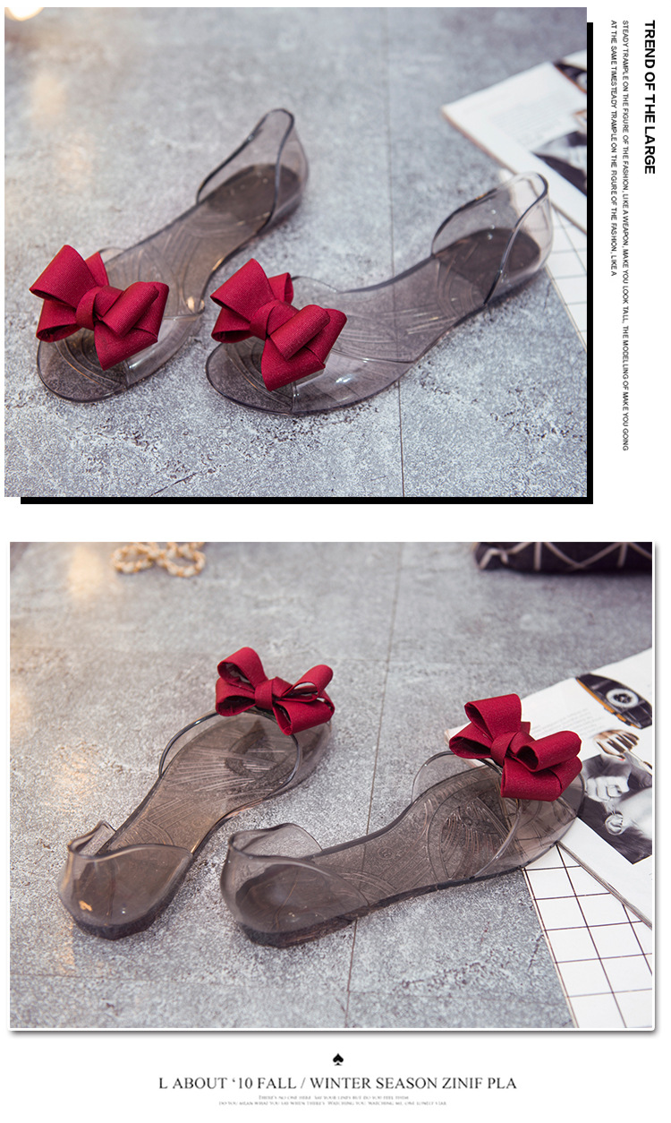 Women Sandals Open Toe Summer Jelly Shoes Woman Fashion Butterfly-knot Flat Sandals Women Beach Shoes Slip On Flip Flops WSH3149