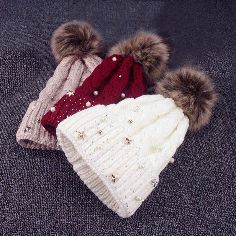 b92071243ffe 2018 New winter wool knitted hat Fashion Pearl Knitted Hat Girls Female  Beanie Cap Pompom Winter