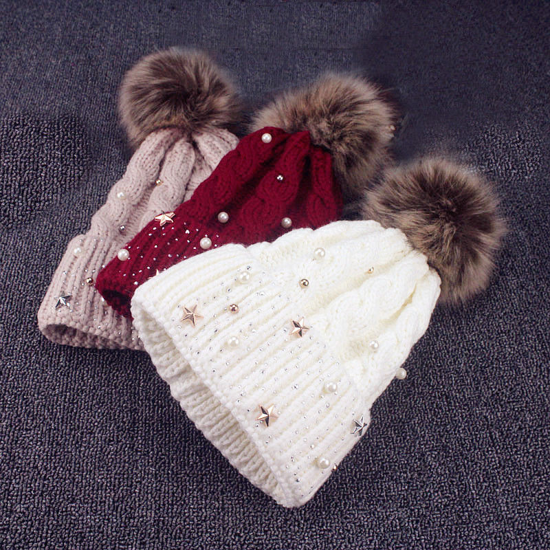 2018 New Winter Wool Knitted Hat Fashion Pearl Knitted Hat Girls Female Beanie Cap Pompom Winter Hats For Women