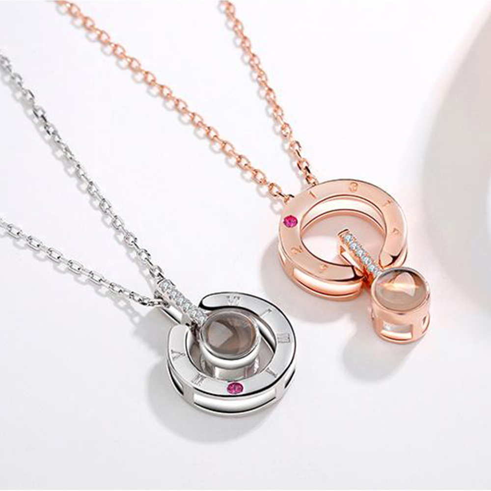New Rose Gold Silver Love Memory Wedding Necklace 100 languages I love you Projection Pendant Necklace