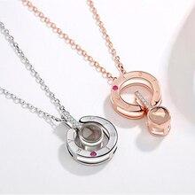 Новое Розовое Золото Серебро Любовь память свадебное ожерелье 100 языков я люблю тебя проекция кулон ожерелье Прямая доставка