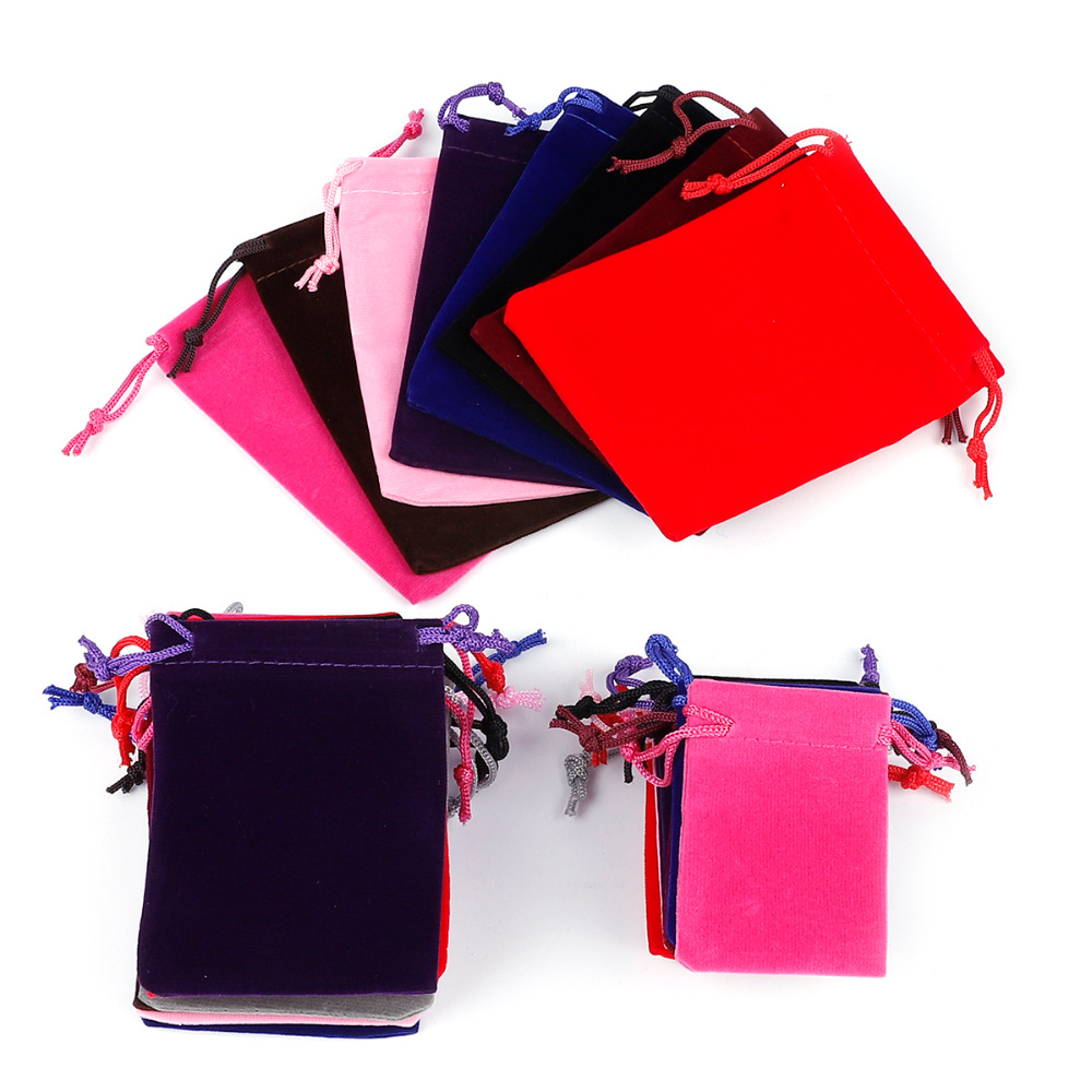10pcs 5x7cm/7x9cm/9x12cm/10x15cm Multicolor Velvet Pouches Display Drawstring Packing Gift Bags & Pouches Jewelry Packaging