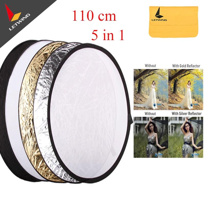 Godox 110cm/43 5 in 1 Photography Studio Flash Multi Photo Collapsible Light Round Reflector Disc Free shipping светоотражатель godox rft 01 gold silver 110cm