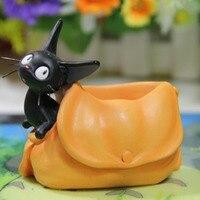 Cute Cartoon Black Cat Messanger Delivery Bag Design Plant Flower Pot Succulent Planter