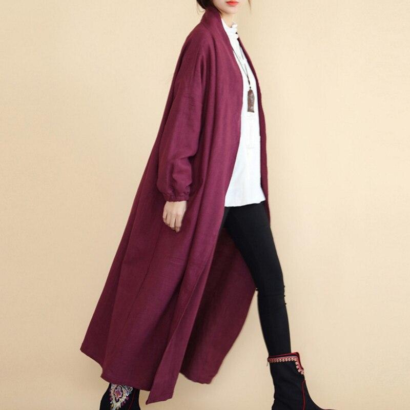 Coton Marine Femme Cardigan Longue Rouge Tranchée rouge Retour Chinois Navy Violet Bleu Grenouille Lin pourpre Printemps Cool Manteau Femmes Bouton Pour 8PqOa8
