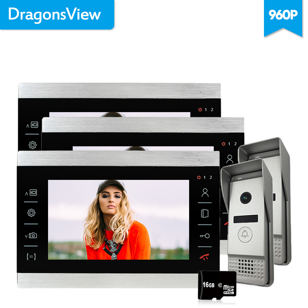 Dragonsview 960P AHD 7 Inch TFT Touch Button Color LCD Video Door Phone Wired Video Intercom 3 Monitor Doorbell Intercom System