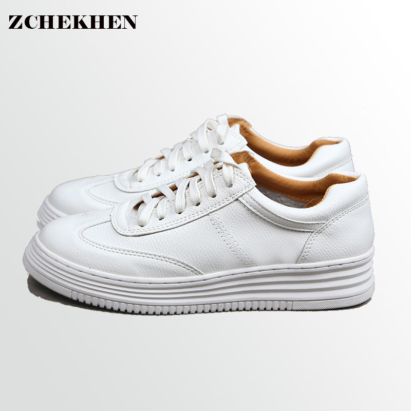 Soft Leather Lace-up Casual Shoes Students Breathable White Shoes Slipony 2017 Spring Summer Women Footwear #36