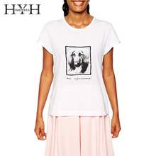 HYH HAOYIHUI 2017 Fashion Summer T-shirt Women Dog Print White Loose O-neck Short Sleeve Tops Brief Female T-shirt Free Shipping