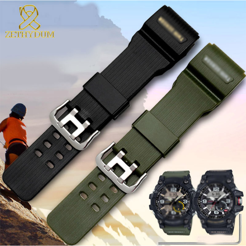 Rubber watch strap waterproof Silicone watchband for casio GG-1000/GWG-100/GSG-100 watches band sport mens wristband army geen image