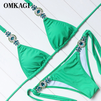 OMKAGI Brand Swimsuit Swimwear Women Micro Bikinis Set Sexy Push Up Bandage Swimming Suit Beachwear Bathing