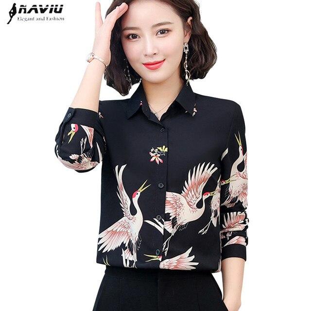 2019 nouveau printemps mode imprimé chemise femmes OL tempérament rétro à manches longues en mousseline de soie blouses bureau dames grande taille haut formel