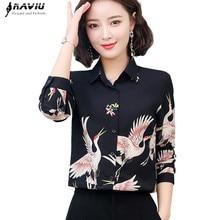 2019 nueva moda Primavera impreso camisa mujer OL temperamento retro manga larga gasa blusas de las señoras de la Oficina de talla grande top formal