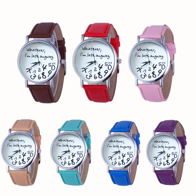 New Style Women Dress Wristwatch Whatever I am Late Anyway Letter Pattern Leathe