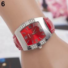 2015 New Women's Rhinestone Barrel Shape Case Faux Leather Band Analog Quartz Wrist Watch