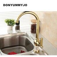 DONYUMMYJO vòi nước Nhà Bếp Đồng Vàng cho nước nóng và lạnh tap Chậu vòi rửa Rau lưu vực 360 bằng rotating fauce