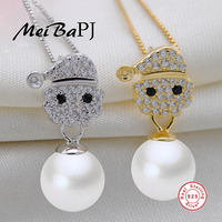 MeiBaPJ Sterling Silver Jewelry Top Quality Santa Claus Pendant Freshwater Pearl Jewelry Necklace Pendant For