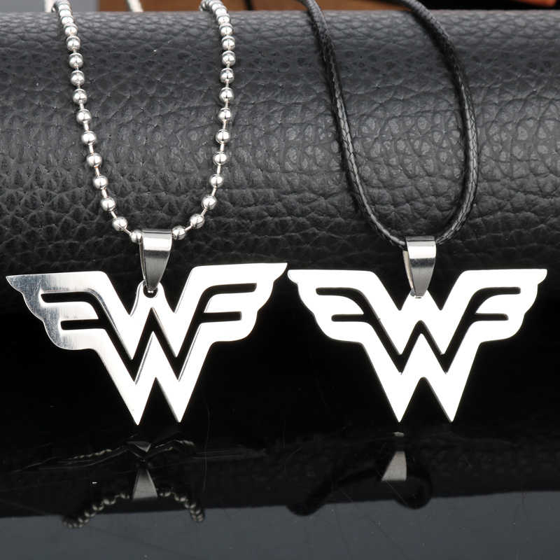 Stainless Steel Pendants Necklace Wonder Woman Necklace Leather Cord Beads Chain Charms
